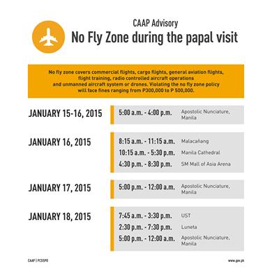 ローマ教皇フィリピン訪問に伴う空港業務制限